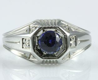 Vintage Mens Sapphire Ring