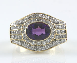 Estate Amethyst Diamond Ring