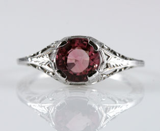 Pink Tourmaline Filigree Ring