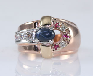 Estate Sapphire Buckle Ring