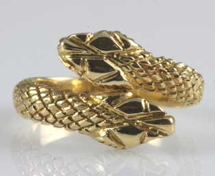 Signed Lalaounis Gold Snake Ring