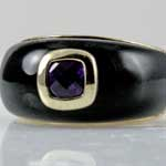 Black Onyx Amethyst Ring