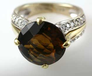 Checkerboard Citrine Diamond Ring