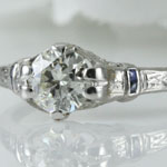 Antique Diamond Sapphire Engagement Ring