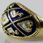 Vintage Blue Enamel Gold Ring