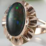 Estate Colorful Dark Opal Ring
