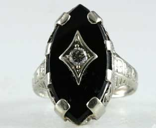 Black Onyx Diamond Filigree Ring