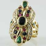 Multi Stone Long Gold Ring