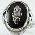 Estate Black Onyx Filigree Ring