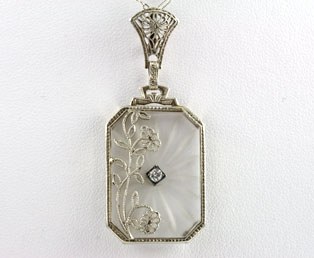 Crystal Filigree Diamond Pendant