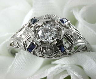 European Diamond Filigree Engagement Ring