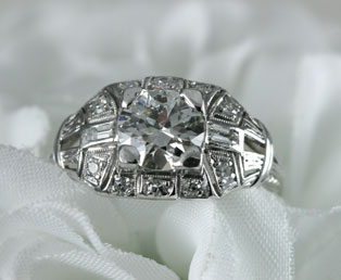 Platinum Diamond Estate Engagement Ring