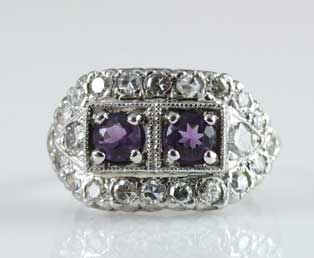 Amethyst Diamond Estate Ring