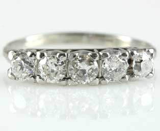 Antique Five Diamond Wedding Band