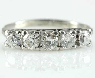 Antique Five Diamond Wedding Band