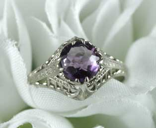 Lacy Amethyst Filigree Ring