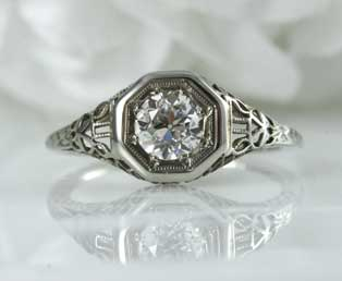 Solitaire Diamond Filigree Engagement Ring