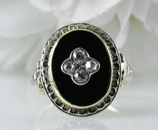 Antique Diamond Black Onyx Ring