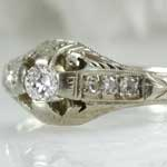 Estate Engraved Diamond Engagement Ring