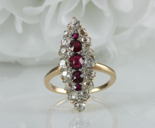 Antique Ruby Diamond Cocktail Ring