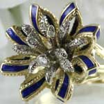 Blue Enamel Diamond Flower Ring