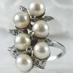 Estate Pearl Diamond Cocktail Ring