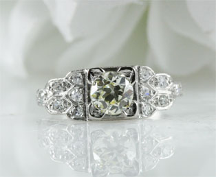 Yellow Diamond Platinum Engagement Ring
