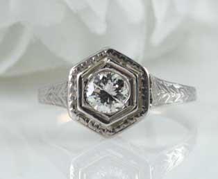 Estate Hexagon Diamond Engagement Ring