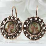 Antique Painted Porcelain Earrings
