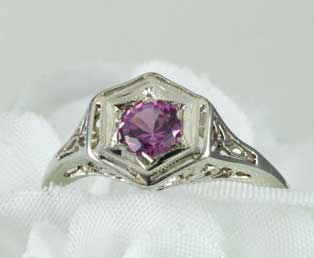 Pink Sapphire Flower Filigree Ring