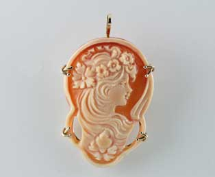 Estate Cameo Brooch Pendant