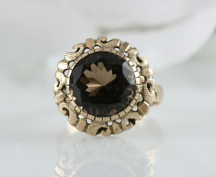 Brown Smoky Quartz Gold Ring