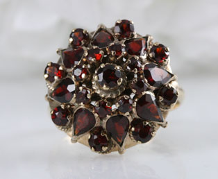 Estate Garnet Cluster Ring