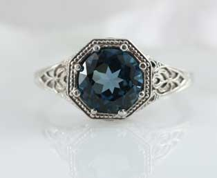 London Blue Topaz Filigree Ring