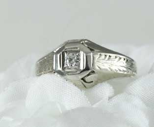 Estate Engraved Mans Wedding Ring