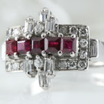 Estate Dark Ruby Diamond Ring
