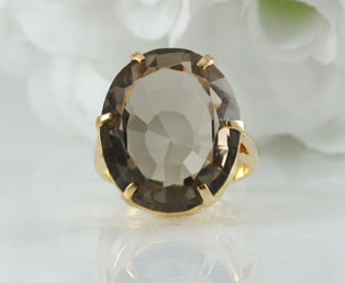 Big Vintage Smoky Quartz Ring