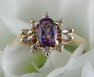 Amethyst Diamond Ring Vintage