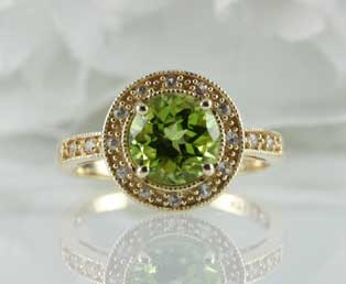 Estate Peridot Diamond Ring