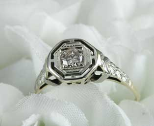 Estate Diamond Basket Engagement Ring