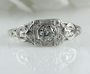 ladies diamond estate engagement ring - Estate Wedding Rings