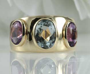 Amethyst Blue Topaz Gold Ring