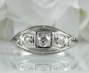 Estate Diamond Gold Wedding Ring