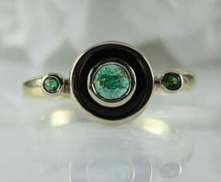 Emerald Black Onyx Ring