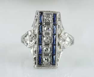 Sapphire Diamond Filigree Dinner Ring