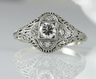 1920s Diamond Filigree Engagement Ring