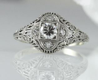 1920s diamond filigree engagement ring - 1920s Wedding Rings