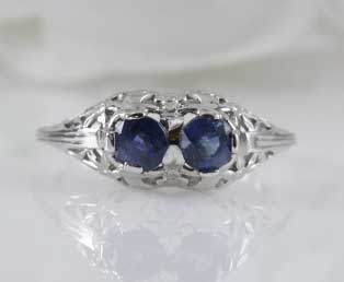 Double Sapphire Filigree Ring