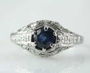 Estate Blue Sapphire Engagement Ring