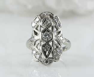 Diamond Filigree Dinner Ring